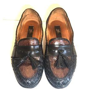 3152f0346 Zelli Black Brown Woven Calfskin Tassel Loafers 9W
